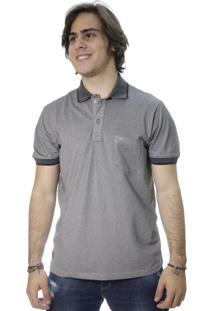 Camiseta Laos Gola Polo Manga Curta Um Com Bolso Cinza
