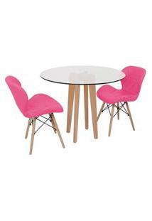 Conjunto Mesa De Jantar Em Vidro 90Cm Com Base Vértice + 2 Cadeiras Slim - Rosa
