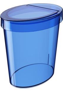 Lixeira Oval Glass 5 Litros Azul Coza