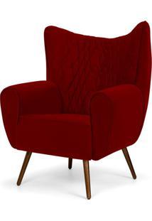 Poltrona Decorativa Para Sala De Estar Kora Pã©S Palito Tress㪠Veludo Marsala B-278 - Lyam Decor - Vermelho - Dafiti