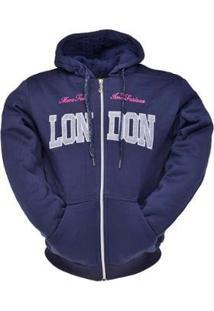 Blusa Khaata Moleton Canguru London Feminina - Feminino-Azul