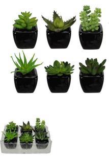 Vaso Decorativo Preto Planta Suculenta Sortida Verde 9Cm Com 6 Unidades