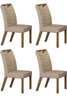 Conjunto Com 4 Cadeiras Verona Ipê E Veludo Palha