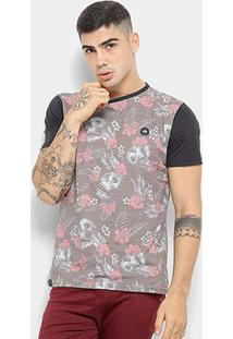 Camiseta Hd Skull And Flowers Masculina - Masculino-Vermelho