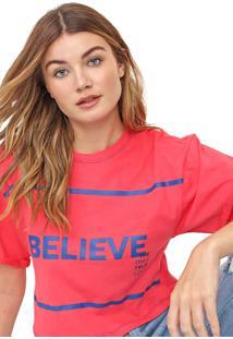 Camiseta Cropped Morena Rosa Believe Rosa/Azul