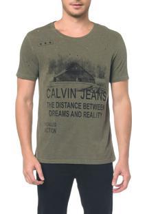 Camiseta Ckj Mc Estampa Calvin Jeans - Oliva - Pp