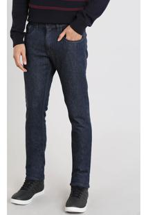 Calça Jeans Masculina Slim Com Bolsos Azul Escuro