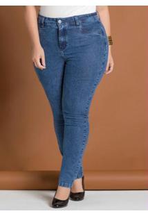 Calça Jeans Skinny Azul Plus Size Marguerite