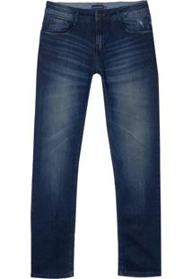 Calca Dudalina Jeans Stretch Washed Blue Dirty Masculina (Jeans Escuro, 46)