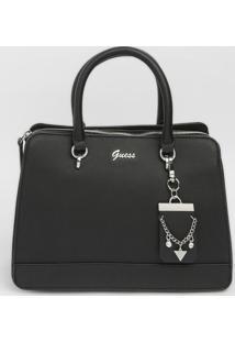 Bolsa Transversal Com Bag Charm- Preta- 21,5X29X12Cmguess