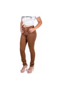 Calça Jeans Caramelo Skynni Cos Alto Mania Do Jeans