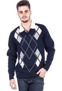 Blusa Tricot Carlan Decote V Losango Azul Marinho