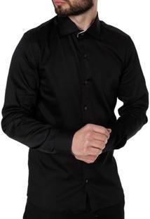 Camisa Slim Manga Longa Masculina Preto