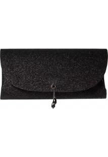 Bolsa A Clutch Mini Glitter Party Preta