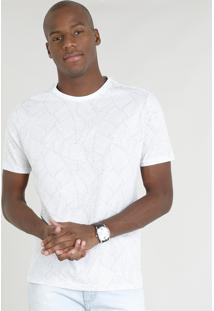 Camiseta Masculina Estampada De Folhagens Manga Curta Gola Careca Branca