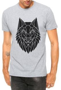 Camiseta Criativa Urbana Lobo Tribal Tattoo Manga Curta - Masculino-Cinza