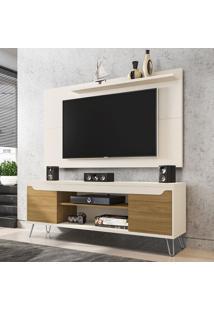 Rack Com Painel Para Tv Até 50 Polegadas Chanel Off-White/Cinamomo - Móveis Bechara