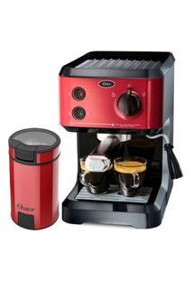 Kit Cafeteira Expresso Cappuccino E Moedor De Café Oster Red - 127V
