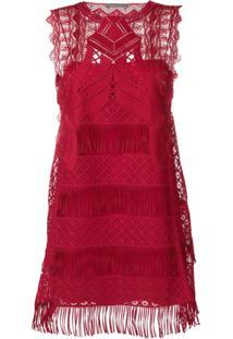 Alberta Ferretti Vestido Com Franjas - Vermelho