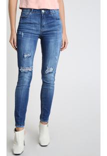 Calça Jeans Feminina Bbb Skinny Cintura Alta Destroyed Azul Médio