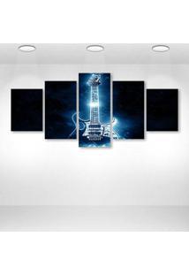 Quadro Decorativo - Electric Guitar - Composto De 5 Quadros
