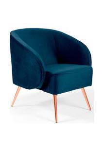 Poltrona Decorativa Fixa Pés Palito Metalizado Agnes Veludo Azul Marinho B-287 - Lyam Decor