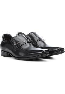 Sapato Social Couro Democrata Detalhe Metal Clyde Masculino - Masculino-Preto