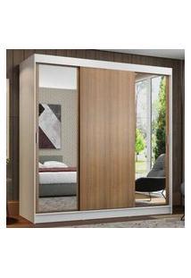 Guarda-Roupa Casal Madesa Reno 3 Portas De Correr Com Espelhos Branco/Rustic Cor:Branco/Rustic