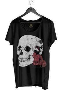 Camiseta Masculino Estonada Corte À Fio Joss Flores Da Lua Masculina - Masculino-Preto