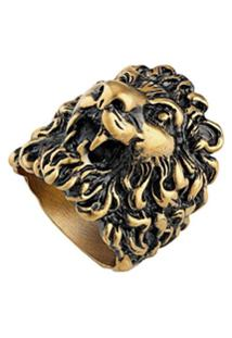 Gucci Anel Com Cabeça De Leão - Dourado