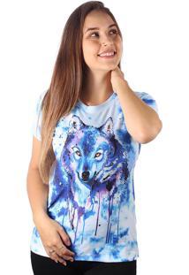 Camiseta Baby Look Lobo Tie Dye Md09