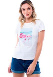 Blusa Manga Curta Flamingo Pop Me Branco
