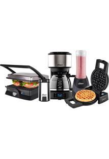 Kit Cozinha Fun Grill Blender Máquina De Waffle Cafeteira Moedor De Café Oster 220V