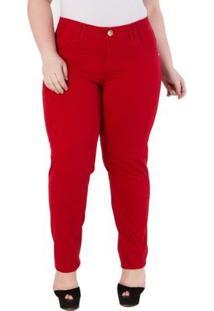 Calça Confidencial Extra Plus Size Skinny Veludo Com Elastano Feminina - Feminino-Vermelho