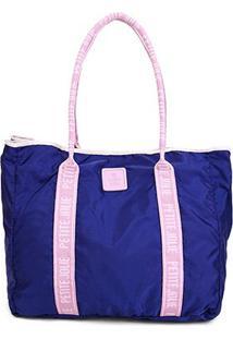 Bolsa Petite Jolie Nylon Feminina - Feminino-Azul Escuro