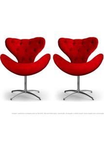Kit De 02 Cadeiras Decorativas Poltronas Egg Com Capitonê Vermelha Com Base Giratória