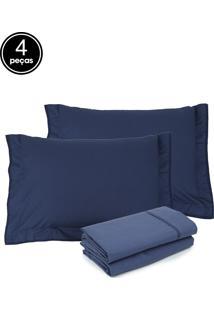 Jogo De Cama 4Pçs Queen Buddemeyer Basic Premium 200 Fios Azul Escuro