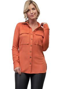 Camisa Mx Fashion Suede Nicole Laranja