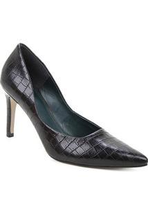 Scarpin Couro Shoestock Salto Alto Graciela Croco - Feminino-Preto
