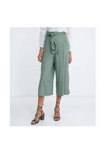Calça Pantacourt Em Viscolinho Com Cós Elástico E Cinto Faixa | Marfinno | Verde | G