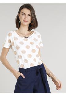 cc45bd5be ... Blusa Feminina Ampla Estampada De Poá Manga Curta Decote Redondo Off  White
