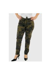 Calça Jeans Feminina Camuflada Premium Top
