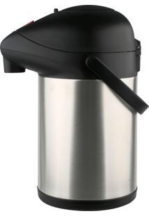 Garrafa Térmica Pressão Aço Inox Trix Preta 3,5 Litros Com Base Giratória - Termopro Prata