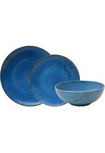 Aparelho De Jantar 18 Peças Em Porcelana Nature Azul - L Hermitage