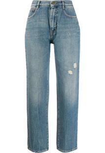 Mcq Alexander Mcqueen Calça Jeans Reta Com Efeito Desbotado - Azul