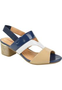 Sandália De Salto Baixo Comfortflex Feminino - Feminino-Bege