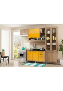 Cozinha Compacta 6 Peças Com Tampo 5817-S9T - Sicília - Multimóveis - Argila / Amarelo