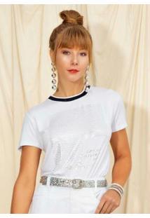 Blusa Estampada Com Fóil Branco