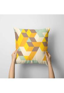 Capa De Almofada Avulsa Decorativa Geométrico Amarelo 35X35Cm - Kanui