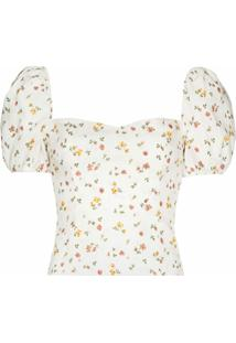 Reformation Blusa Casterly Com Estampa Floral - Branco